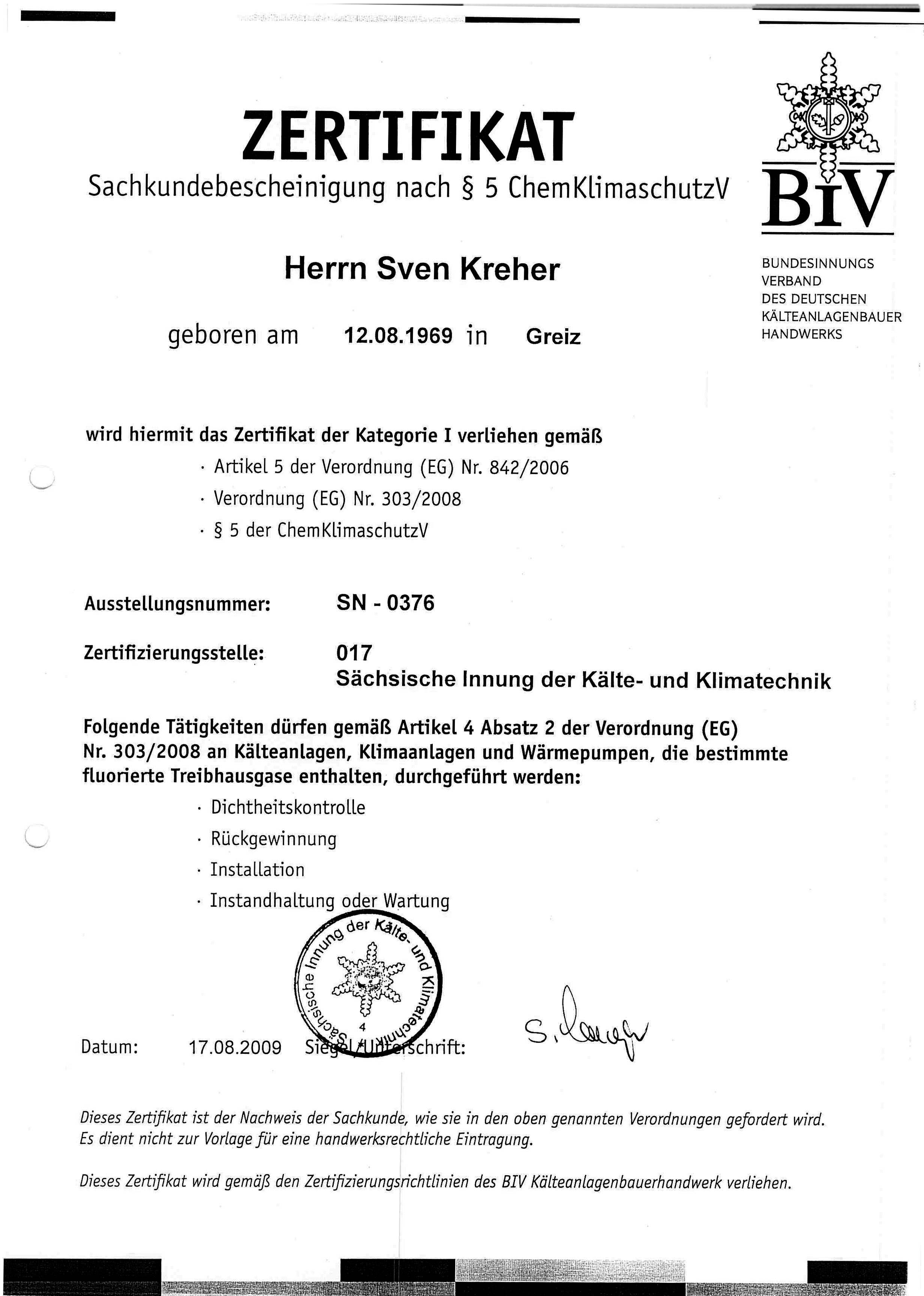 Sachkundebescheinigung nach § 5-ChemklimaschutzV Sven Kreher
