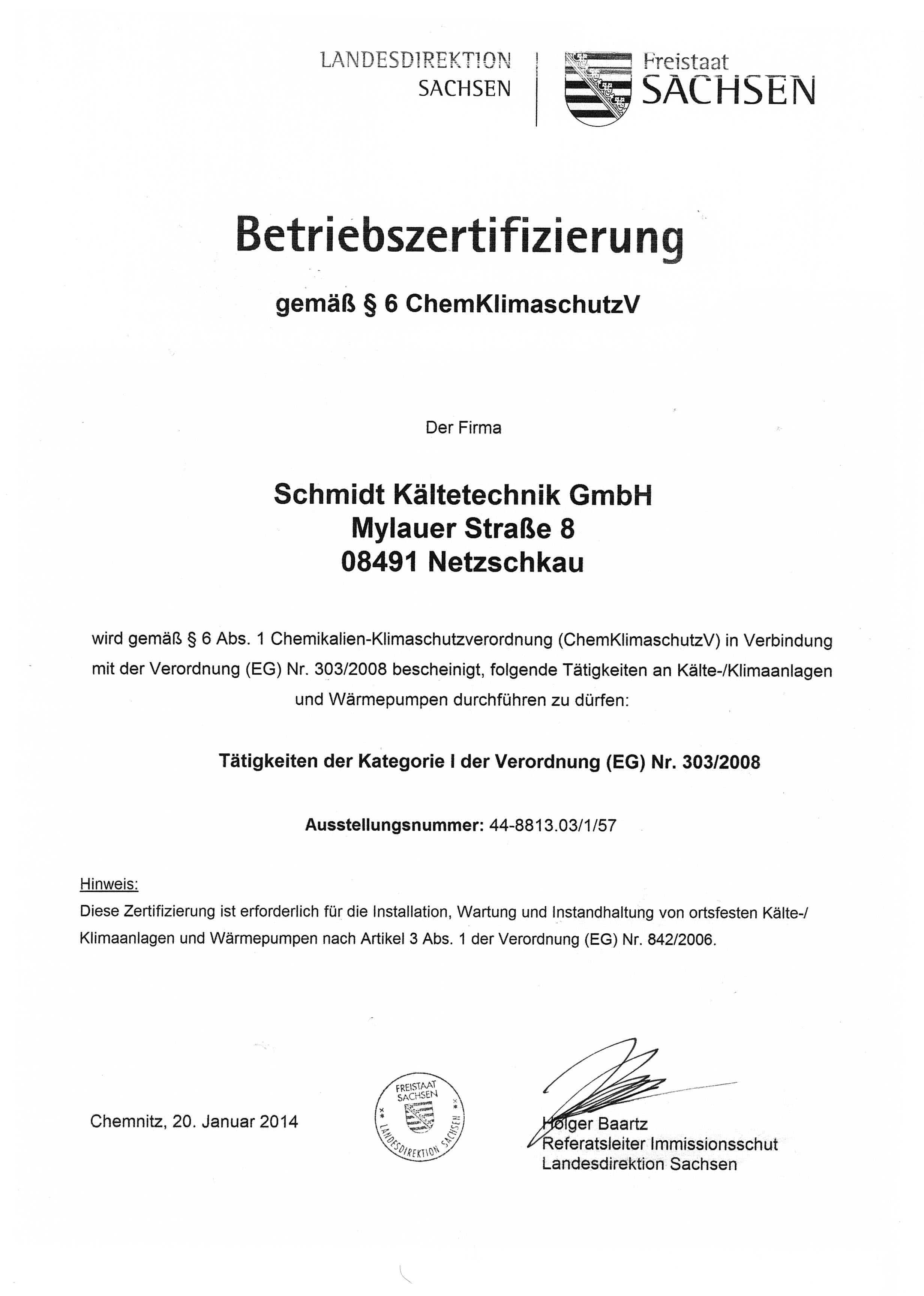 Betriebszertifizierung nach §6 ChemKlimaschutzV
