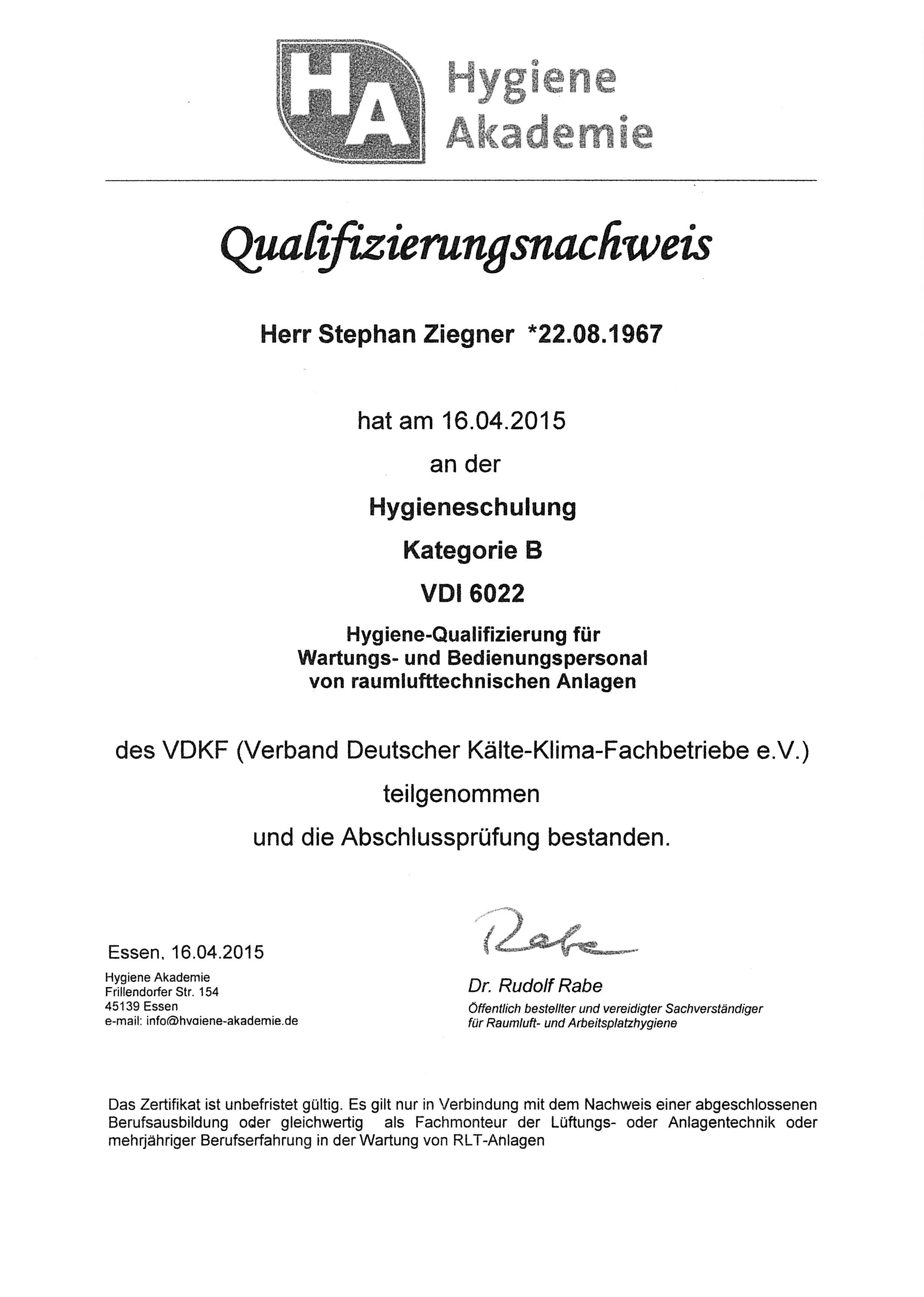 Hygieneschulung Kategorie B VDI 6022
